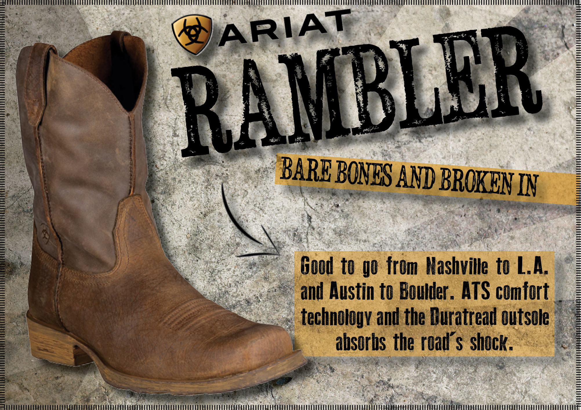 27e9c8757a0 Ariat® Rambler Men's New West Style Cowboy Boots in Earth Brown Bomber -  Available in Extra Large Sizes & Widths...
